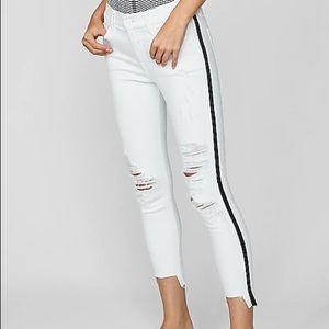 NWT Express midrise side stripe ripped white jean